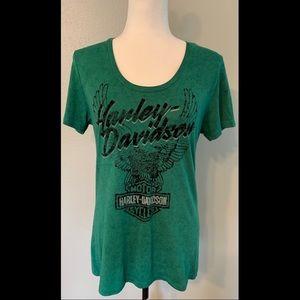 Harley-Davidson Women's Green T-shirt Medium
